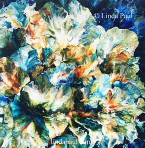 blue abstract flower painting