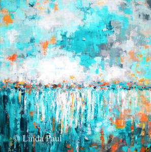 turquoise abstract original painting