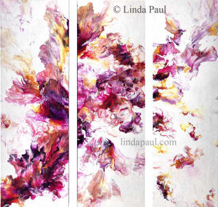 set of 3 pink and purple abstract paintings