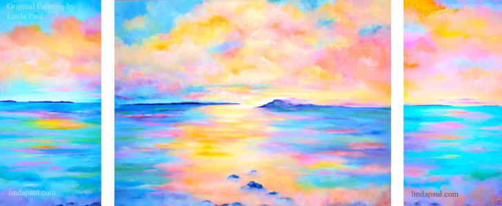 set of 3 ocean and sunset paintings large