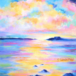 20 x 20 colorful ocean sunset painting