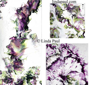 set of 3 purple green white abstract art