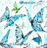 tropical blue butterfly art