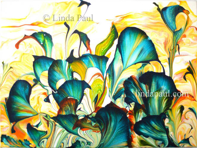 abstract flower calla lili turquoise art