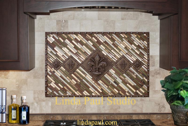 studded fleur de lis tile mosaic tile medallion backsplash