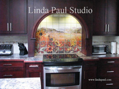 custom kitchen backsplash of sunflowers with arch