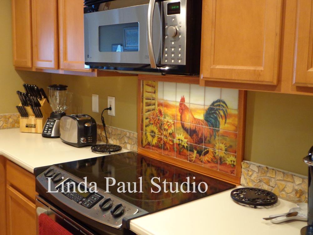 Rooster Kitchen Decor Backsplash With Sunflowers Tile