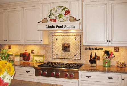Kitchen backsplash design idea with Artichoke metal tile