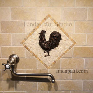 rooster mini medallion stone tile