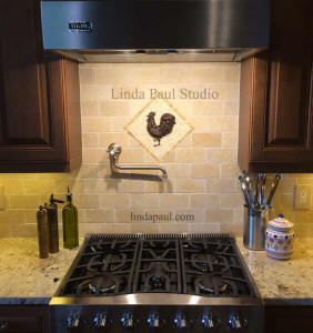 Rooster backsplash medallion