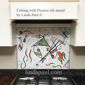 fishing with Picasso tile mural