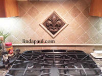 fleu rde-lis tile backsplash