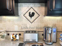 french country kitchen rooster back splash