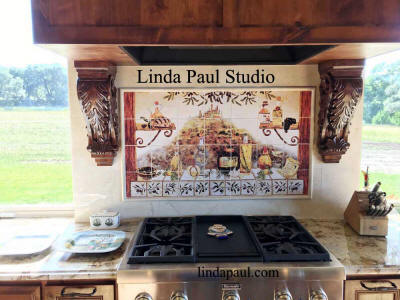 Italian kitchen mural in country kitchen