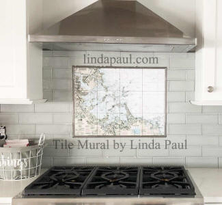 kitchen with nautical tile mural