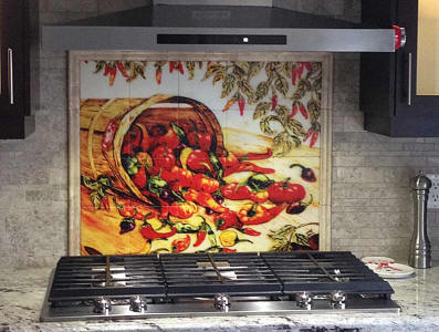 peppers tile mural back splash