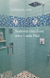seahorse tiles in shower