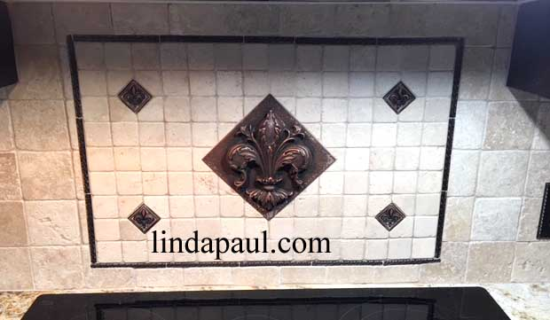 simple fleur de lis backsplash