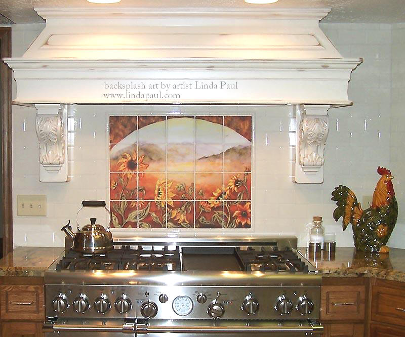 sunflower tile mural french country kitchen back splash tile installed