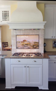 Tuscany in the Mist tile mural backsplsh with subway tile