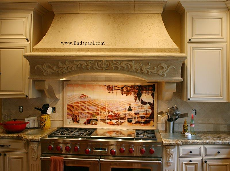 Kitchen tile wall murals wall covers for Ceramic tile mural backsplash