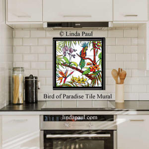 tropical tile mural