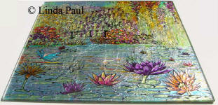 side view of monet glass tile painting
