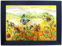 Sunflowers and blue butterfly glass wall art