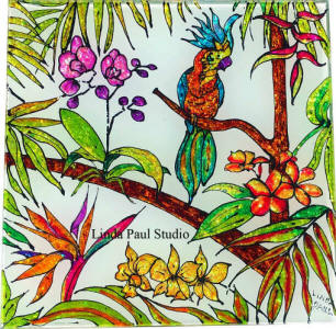 tropical tile with flowers parrot