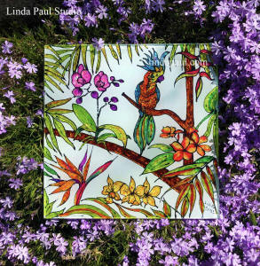 tropical glass tile with orchid parrot
