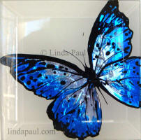 blue butterfly art tile