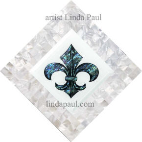 blue white fleur de lis mother of pearl backsplash accent