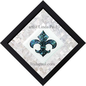 framed ready to hang fleur de lis mosaic backsplash