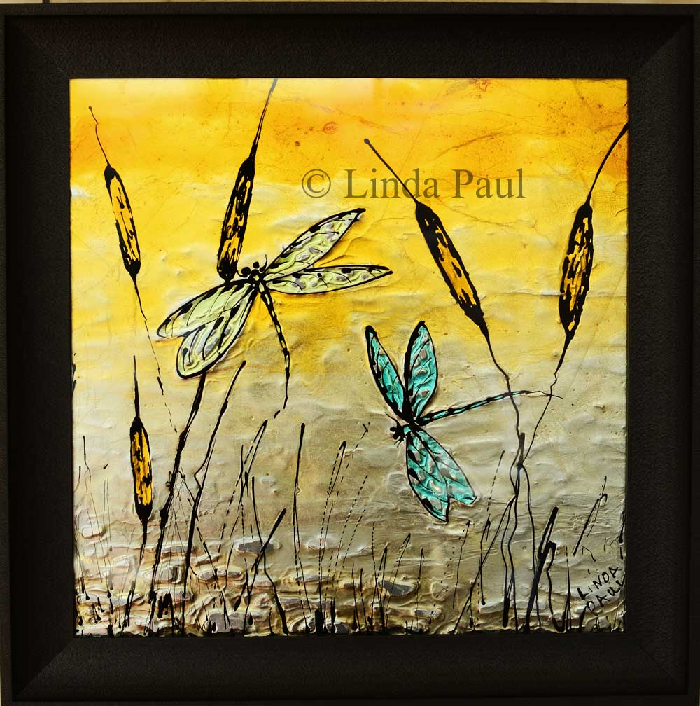 Dragonfly Art Glass Tile Painted Pictures Of Dragonflies