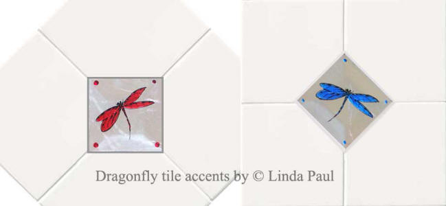 dragonflies glass tile inserts