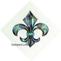 4x4 white glass fleur de lis and shell tile
