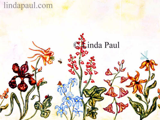 flower garden tile mural backsplash