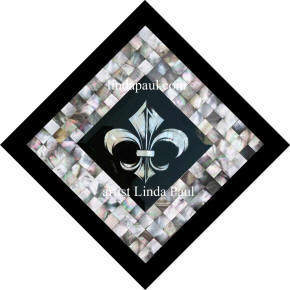mother-of pearl fleur de lis mosaic medallion