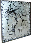 black and silver horse glass tile