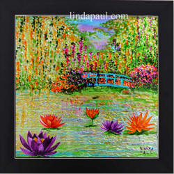 original painitng of monet's garden and pond water lilies