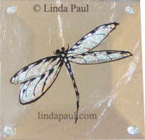 opal dragonfly glass tile
