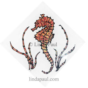 red seahorse tile