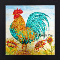 rooster hand-painted glass tile backsplash