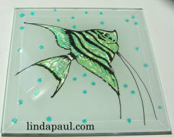 side view green sparkle fish tile