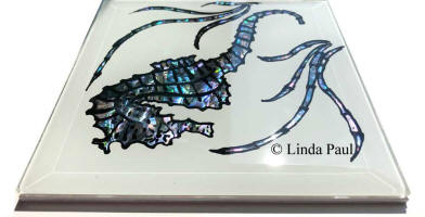 side view seahorse glass tile