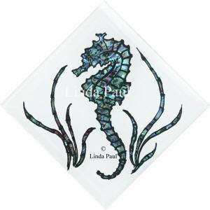 seahorse tile blue and white