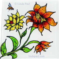 hand-painted sunflower glass tile