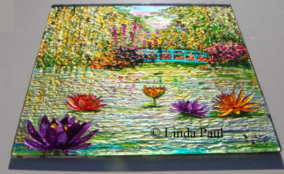 side view of Monet garden glass painting