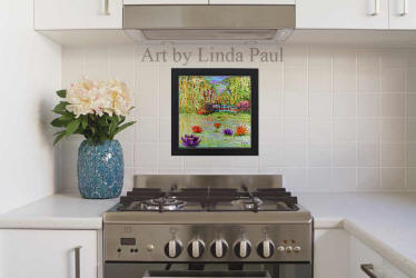 white kitchen with ready to hanf hand-painted backsplash art