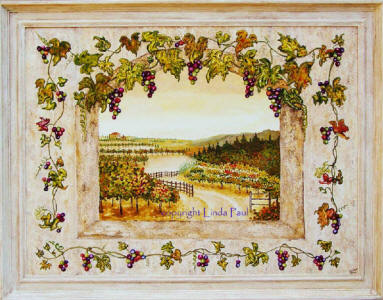 original painting of grapevines and vineyards